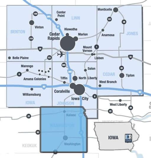 Washington County Iowa Map.Washington County Icr Iowa