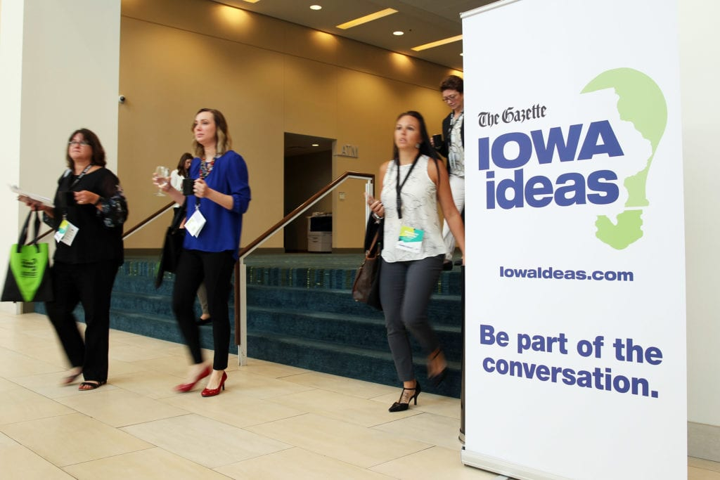 Conference attendees move between sessions at the second annual Iowa Ideas conference at the DoubleTree by Hilton Hotel Cedar Rapids Convention Complex on Thursday, Sept. 20, 2018. (Liz Martin/The Gazette)